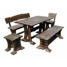 Комплект мебели для бани из сосны под старину Старый Замок, длина 145 см