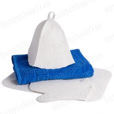"""Подарочный набор для бани """"Blue""""- 4 предмета: полотенце, рукавица, коврик, банная шапка"""