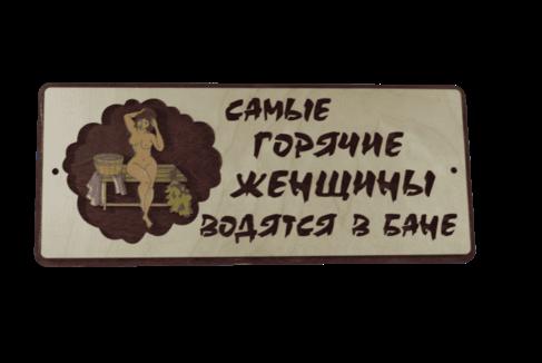 """Табличка """"Самые горячие женщины водятся в бане"""""""