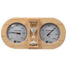 Термометр с гигрометром и песочными часами Банные штучки