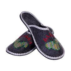 """Тапочки мужские из войлока с вышивкой """"Банька"""", размер: 43-44"""