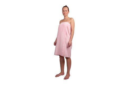 Парео для бани женское махровое, розовое