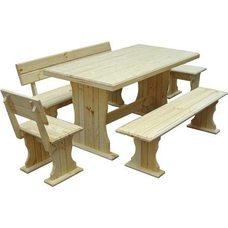 Комплект мебели для бани из сосны Уют, длина 120 см, покрыт лаком, стол, 2 лавочки, 2 стула