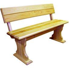 Скамейка Уют со спинкой, толщина 2,8 см, длина 145 см, цвет: натуральное дерево,для дачи и бани