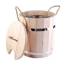 Запарник для бани 12 л из липы, нержавеющая вставка, с крышкой
