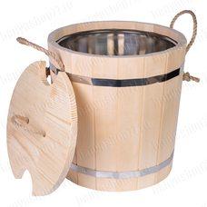 Запарник для бани 20 л из липы, с нержавеющей вставкой, с крышкой