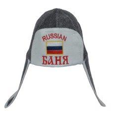 """Шапка ушанка для бани и сауны с вышивкой """"RUSSIAN Баня"""", цвет: серый, белый"""