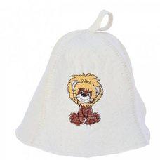 """Детская банная шапка с вышивкой """"Львёнок"""", цвет: белый"""