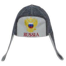 """Шапка ушанка банная """"RUSSIA"""", цвет: серый, белый"""