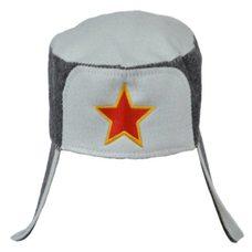 """Шапка ушанка для бани и сауны """"Звезда"""", цвет: серый, белый"""