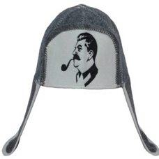 """Шапка ушанка для бани и сауны с вышивкой """"Сталин"""", цвет: серый, белый"""