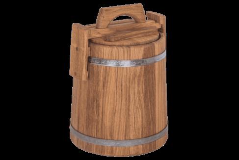Кадка дубовая для солений, объем 5 литров, нержавеющий обруч