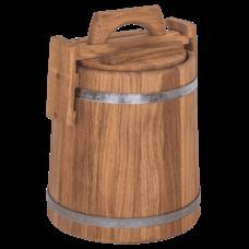 Кадка дубовая для хранения, объем 3 литра, оцинкованный обруч