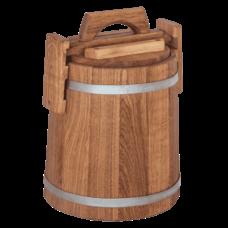 Кадка дубовая для засолки, объем 5 литров, оцинкованный обруч