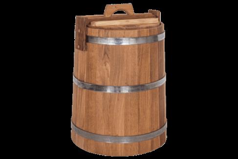 Кадка дубовая для солений, объем 30 литров, нержавеющий обруч