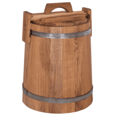 Кадка дубовая для засолки, объем 15 литров, нержавеющий обруч