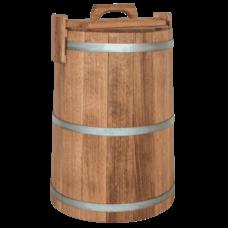 Кадка дубовая для хранения, объем 50 литров, оцинкованный обруч