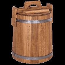 Кадка дубовая для засолки, объем 10 литров, нержавеющий обруч