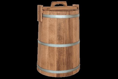 Кадка дубовая для засолки помидоров, объем 50 литров, нержавеющий обруч