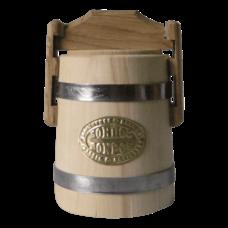 Кадка липовая для меда, объем 0,5 литров, нержавеющий обруч