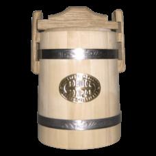 Кадка липовая для меда, объем 1 литр, нержавеющий обруч