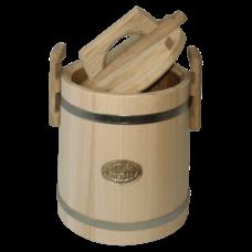 Кадка липовая для меда, объем 3 литра, оцинкованный обруч