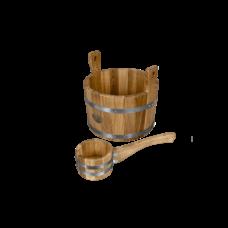 """Набор для бани и сауны """"Дубовый рай"""", материал дуб, 2 предмета: черпак, шайка"""