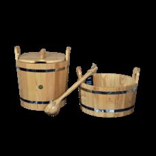 """Набор для бани и сауны """"Будь здоров"""", лиственница натуральная, 3 предмета: шайка, запарник, ковш"""