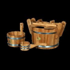 """Набор для бани """"Стандарт дуб"""", материал дуб, 3 предмета: черпак, ушат, запарник"""