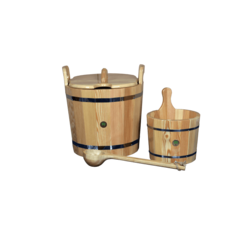 """Набор для бани и сауны """"Бондарная классика"""", лиственница натуральная, 3 предмета: ушат, запарник, ковш"""