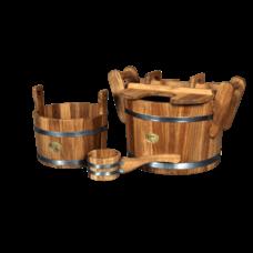 """Набор для бани """"Царский пар"""", материал дуб, 3 предмета: ковш, шайка, запарник"""