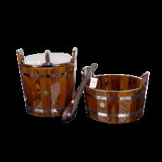 """Набор для бани и сауны """"Оптима"""", лиственница мореная, 3 предмета: черпак, шайка, запарник"""