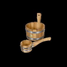 """Набор для бани и сауны """"Дубовый пар"""", материал дуб, 2 предмета: черпак, ушат"""