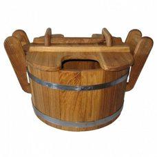 Запарник для бани из дуба, 23л с крышкой, с ручками