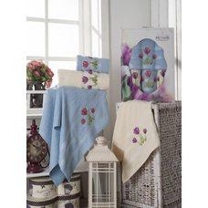 Набор махровых полотенец Meteor Tulips, 50х80 см и 70х130 см, голубой и кремовый, 4 шт.