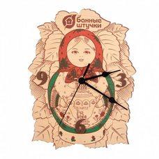 Часы из дерева кварцевые 32366 Матрешка, механизм - пластик, металл