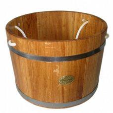 Шайка для бани и сауны Бонпос, дуб, 35 л, ручки веревки